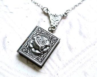 Antique Silver Rose Locket NecklaceLocket Necklace,Book Locket Necklace, Photo Locket Jewelry