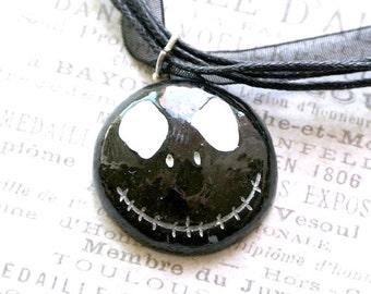 Halloween Jewelry,Jack Skellington Necklace,Black Jewelry, Scary Necklace