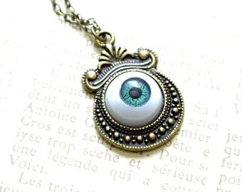 Halloween Necklace,Green Eyeball Necklace, Eyeball Necklace, Spooky Necklace, Scary Jewelry