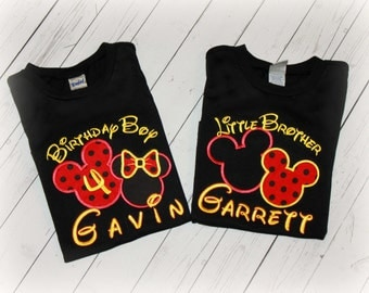 Boys or Girls MINNIE or MICKEY Birthday or Sibling Shirt Red, Black, Yellow Applique Mouse Head Personalized Bib, Hat or Bodysuit Pick Color