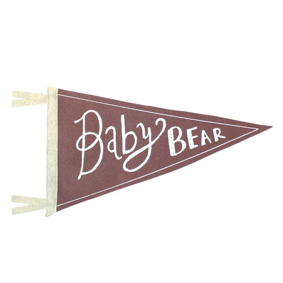 Baby Bear Wool Pennant Flag, Wall Hanging, Gift for Baby, Room Decor, Vintage Camping, Art for Kids Room, Wall Hanging, Printed Banner