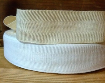 1 inch wide cotton twill tape 30 yd. piece natural or white