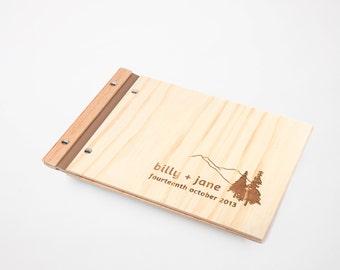Wood Guest Book | Mountain Wedding | Wedding Guestbook | Photo Album | Engagement Gift | fir trees