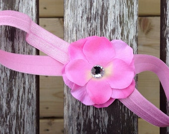 Pink Satin Flower Headband
