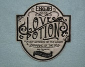 Love Potion No.9 Iron on Patch on Cowhide Leather