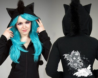 Black Cat hoodie Ears Mohawk Bad Kitty Angel Devil