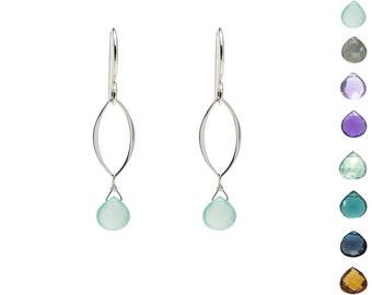 Sterling Silver Leaf Earrings with Gemstones, Sterling Silver Gemstone Earrings, Silver Dangle Earrings, Simple Earrings, Your Choice Gems
