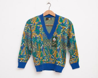 sweater 80s NOS vintage blue yellow green deep Vneck