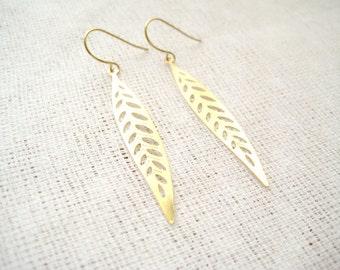 Golden metal leaf long drop earrings - Tree Nymph
