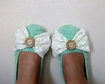 Mint Crochet Slippers with Lace BowCrochet booties with bow-Adult Size