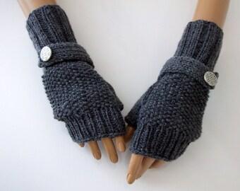 Dark Grey Fingerless Gloves-Fingerless Gloves, Arm Warmers