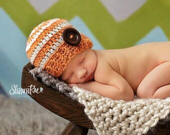 Crochet Newborn Button Beanie/ Crochet Striped Beanie/ Baby Boy Hat/ Newborn Photo Prop Hat./ Orange and Creme Hat