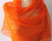 Linen Scarf Lace Shawl Knitted Natural Summer Wrap in Orange Tangerine