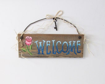 Barn Wood Welcome Sign with Pink Flower, Welcome in Shades of Blue, Hand Painted on Barn Wood, Primitive Welcome Sign, Rustic Sign