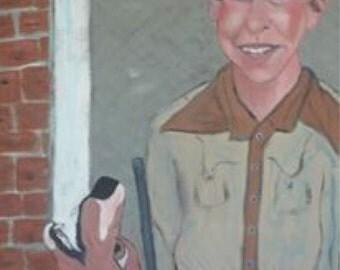 Takin' Rosie Huntin' acrylic on repurposed wood painting