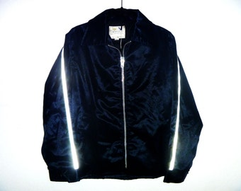 Vintage Dead-Stock 1970's Black Racer Jacket with Striped Reflective Panels on Sleeves and Back of Waist by Amazon Sportswear Men's Medium