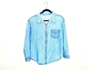 Vintage 1980's Denim Chambray Zip-Front Jacket Shirt