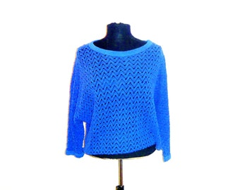 Vintage 90's Mesh Knit Cover-Up Cropped and Over-Sized with Sleeves Big Blue Women's Medium