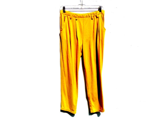 Vintage 90's Baseball Pants Baggy Fit Solid Yellow Color and Bleated with Belt Loops Waist