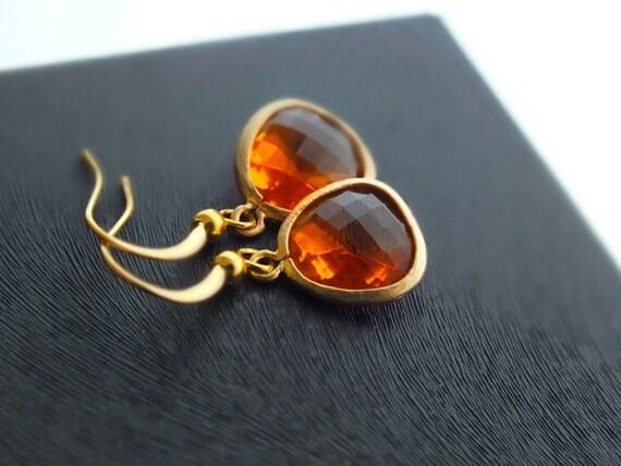 Orange Drop Earrings, Indian Yellow Dangle Earrings - Also Available in Silver, Tangerine Earrings, Sunset Flame Earrings, Wedding Jewelry