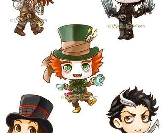 Johnny Depp Sticker set of 5