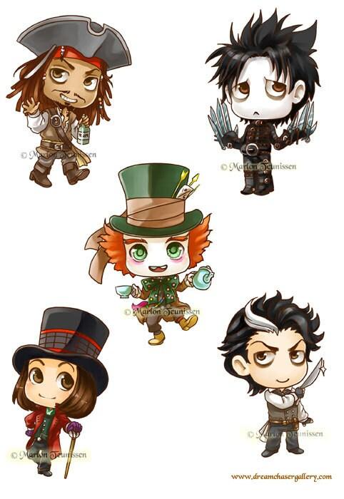 Cartoon Characters Named Johnny : Johnny depp sticker set of