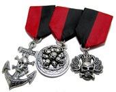 Steampunk Cosplay Medal // Custom SINGLE CHARM Medallion // Red Black Ribbon