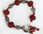 Silver Red Lampwork Bracelet