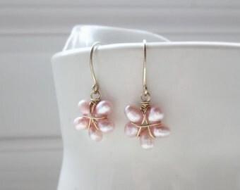 Pink Freshwater Pearl Earrings, Flower Earrings, Little Gold Filled Dangles, June Birthstone, Pink Floral Earrings, Natural Pearl Earrings