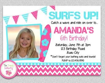 Surf Board Beach Party Birthday Invitation - Pool Party Invitation