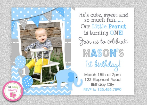 Boys elephant birthday invitation elephant 1st birthday invitation il570xn stopboris Choice Image