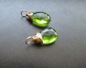 Green PERIDOT QUARTZ gemstone Interchangeable Earring drops, dangles, charms, Pair of genuine faceted briolettes - Gold, Silver, Rose Gold