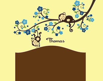 Boy Monkey Nursery Blossom tree branch wall decal with cute Monkeys and Name decal for Baby room, nursery