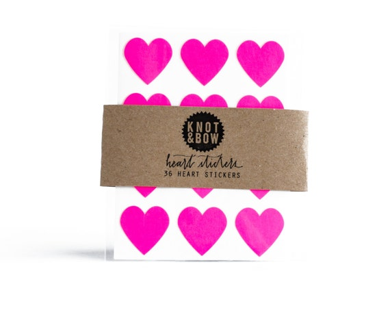 144 Neon Pink Heart Stickers / FREE SHIPPING