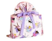 Big Pink Gift Bag with Fairy Princesses and Ballerinas for Girl's Birthday