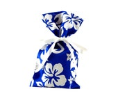 ON SALE -- Small Fabric Gift Bag for Gift Card or Jewelry in Royal Blue with Flowers