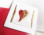 Heart - Collage - acylics, Golden leaf - My heart for you