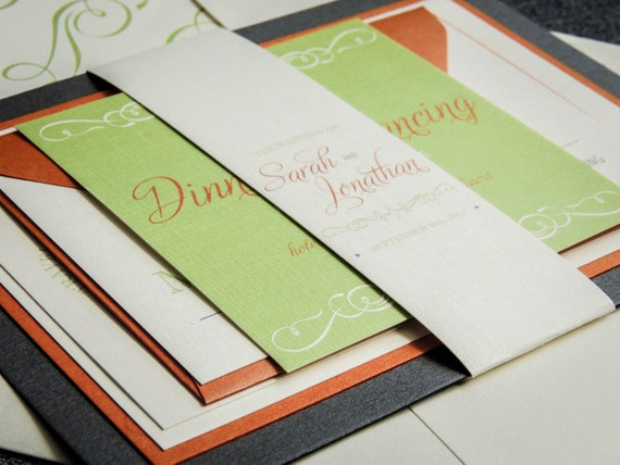 Tropical, Beach Wedding Invitations, Orange, Lime, & Grey, Retro Invitations, Enchanting Vintage Flourish - Flat Panel, 2 Layers, v1 -SAMPLE