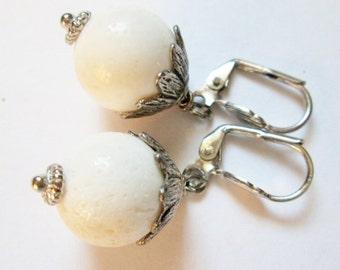 White Coral Earrings - Handmade Jewelry, Handmade Earrings, Hypoallergenic earrings