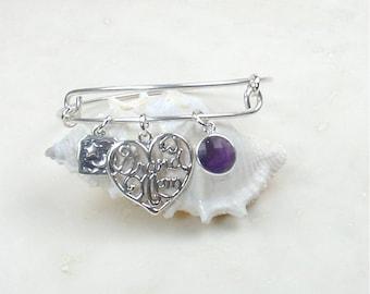 Grandmothers Adjustable Expandable Stackable Sterling Silver Bangle Bracelet