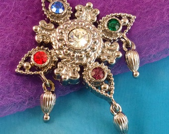 Vintage Bob Mackie Brooch, Signed Rhinestone Pin with Dangles
