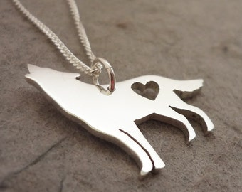 Howling at the moon Sterling Silver Handmade Wolf Pendant