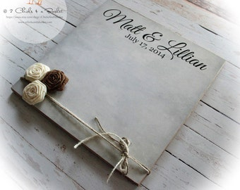 Wedding Guest Book Sign with Burlap Roses, Personalized Guest Book Sign, Handcrafted Wedding Sign
