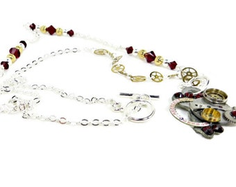 Steampunk Asymmetrical Necklace with Watch Parts and Red Swarovski Crystals & Silver Chain