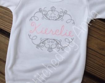 Elegant Monogrammed Baby onesie, personalized onesie, baby gift
