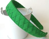 """Rigid Woven Boutique Headband: 1"""" inch wide hand woven from green ribbon"""