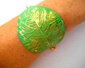 Green Bracelet- Leaf Bracelet- Gold Chain Bracelet- Boho Bracelet