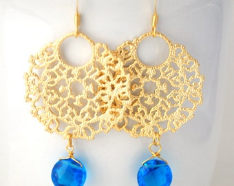 Gold Drop Earrings Blue Chalcedony Gemstone Filigree Coral Hoop 14K Gold London Quartz