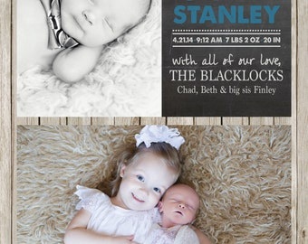 Printable Chalkboard Baby Announcement