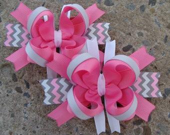 2 Pink and Grey hair Bow Mini boutique Hair Bows Chevron hair bows pigtails hair bows